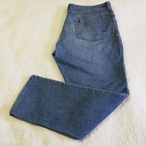 Eddie Bauer jeans with button fly.